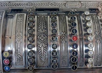 checkout, cash machines, old, cash, pay, till