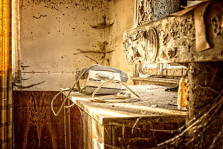 rotary phone on wooden table