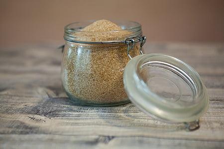 clear glass of jar with sugar inside