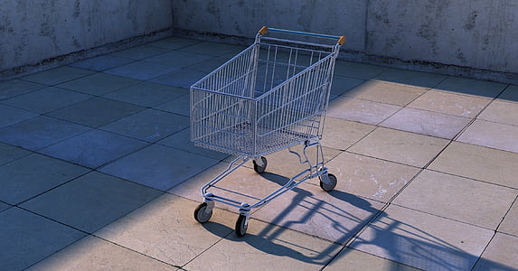 silver shopping cart under sunny sky