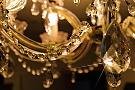 close view of a crystal chandelier