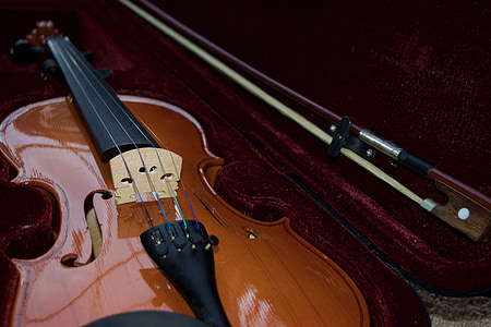 shallow focus photo of violin in hard case