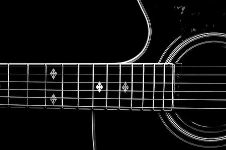 black and white acoustic guitar