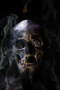 human face half skull wallpaper
