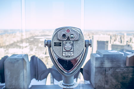 telescope, cityscape, tourism, observation, binocular, metal