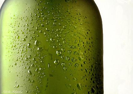 water dew on glass bottle