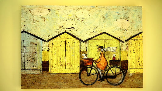 photo of person riding bicycle painting