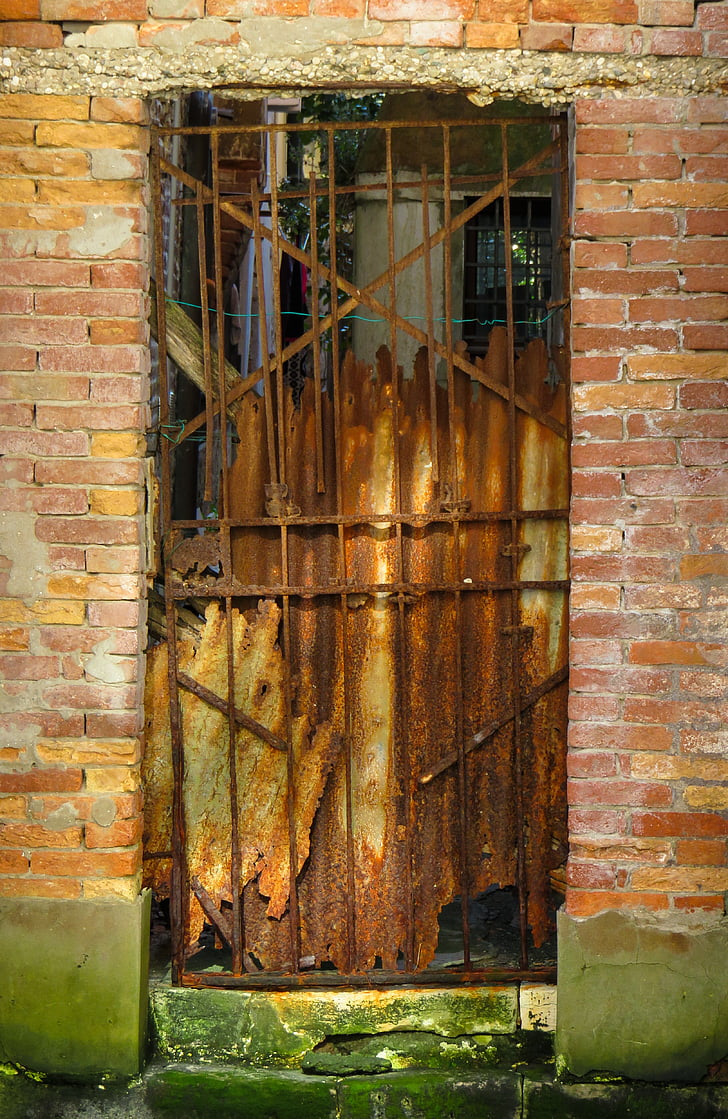 rusty metal gate