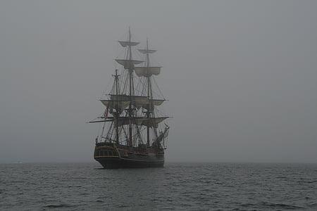 brown galleon ship on sea