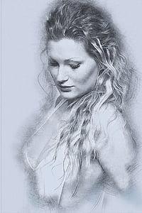 women's portrait sketch art
