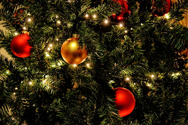 two red and one gold christmas balls on christmas tree - Christmas Light Balls For Trees