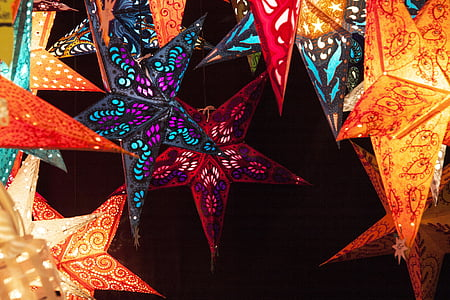 assorted-color star lamps