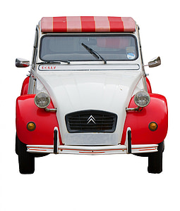 red and white Citroen car
