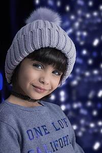 girl wearing gray knit beanie