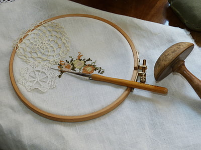 needle on cross stitch artwork