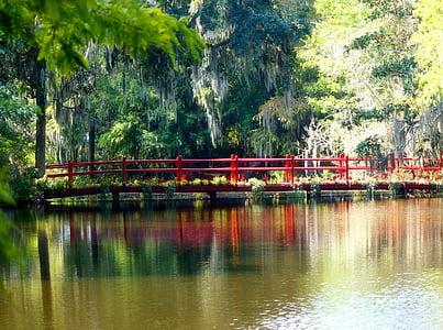 wooden walk bridge under of body of water