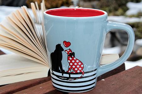 blue and red dog print ceramic mug