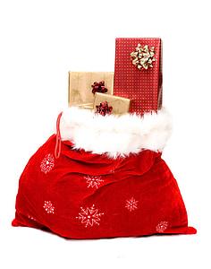 red and white santa bag