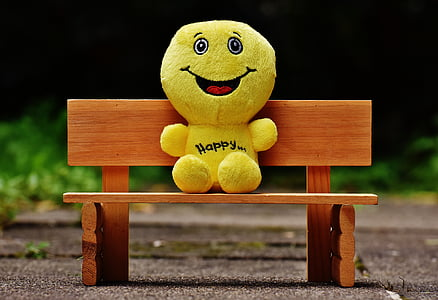 yellow plush toy sitting on bench