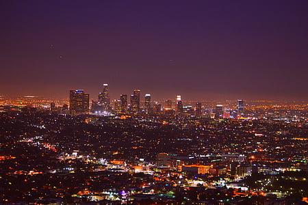 los angeles, skyline, usa, accommodation, night city, city trip