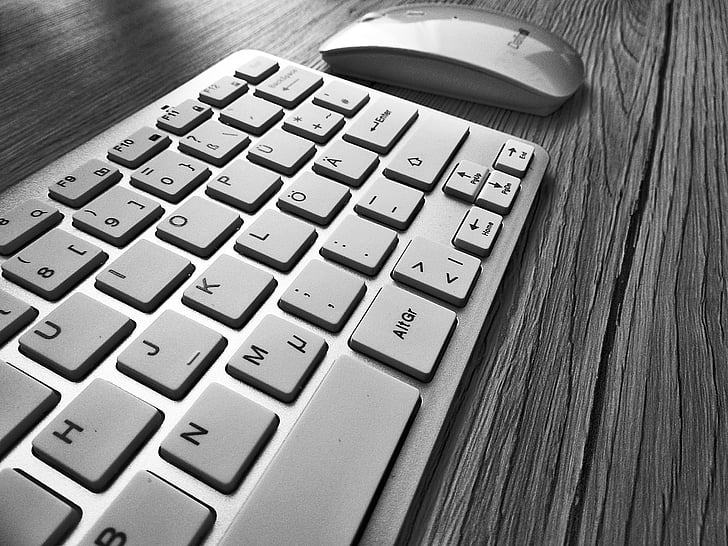 grey wireless keyboard and mouse