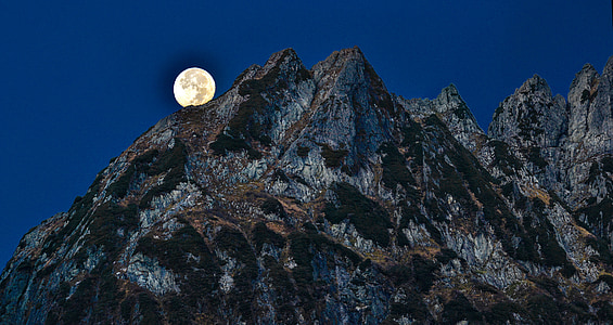 mountain during full moon