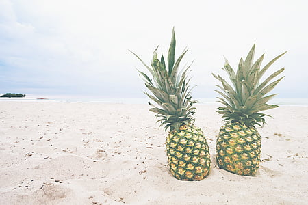 two pineapples on beach sand