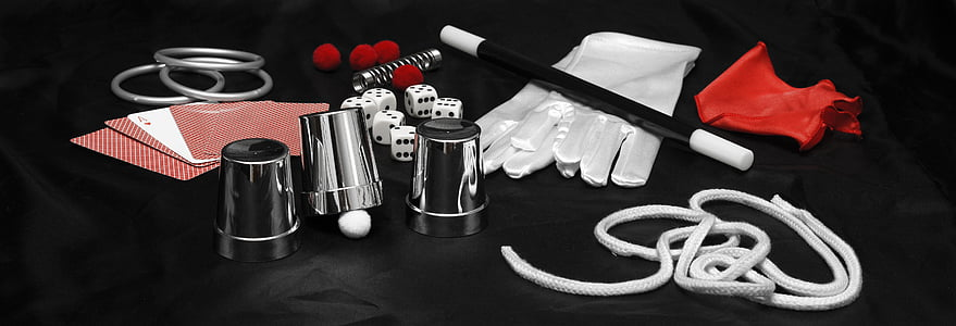 white and black magician kit