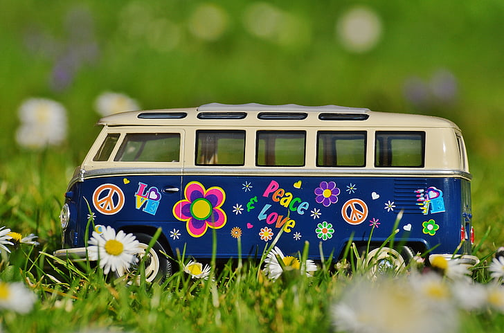 blue and white Volkswagen Type 2 die-cast model on green grass field shallow focus photography during daytime