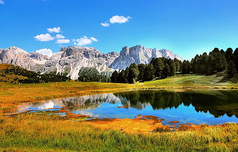 landscape photography of mountain with body of water