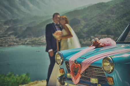 bride groom, marriage, fethiye, car, retro, landscape