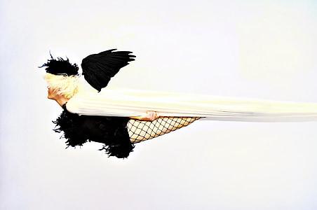 photography woman wearing black fish net leggings