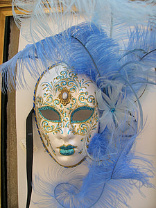 white, gold-colored, and blue masquerade