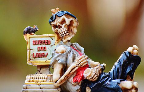 skeleton and cash register figurine