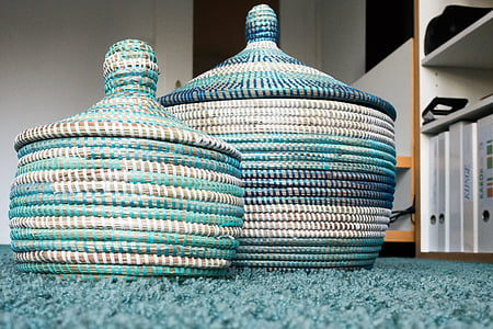 teal and white knitted vases