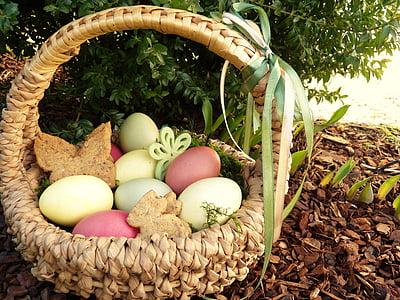 clutch of poultry eggs in wicker basket
