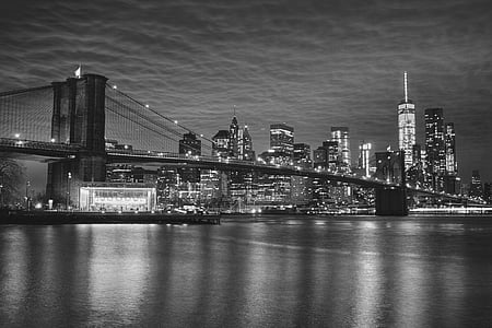 grayscale photography of Brooklyn Bridge, New York