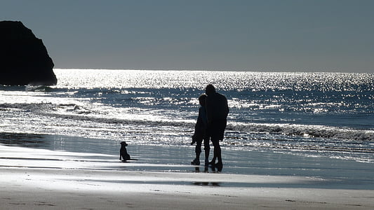 silhouette of people and seashore