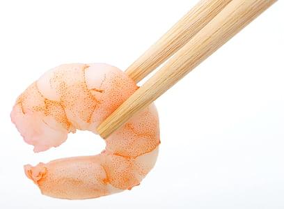 chopsticks and shrimps