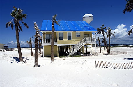 yellow and blue wooden house near sea during daytime