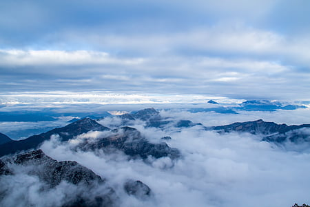 clouds over mountains overview photography