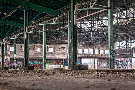 abandoned building with metal truss