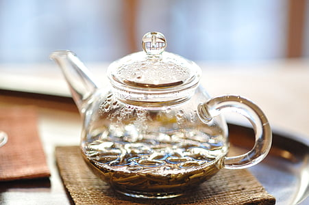 clear glass kettle on surface