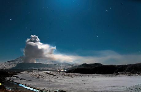 photography of smoking mountain during daytime