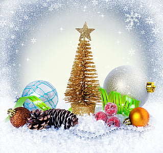 gold miniature Christmas tree and baubles