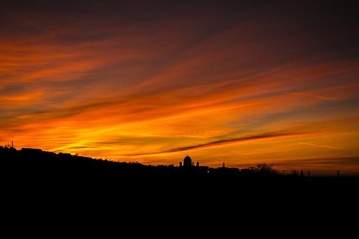 basilica, esztergom, sky, day s, sunset, clouds