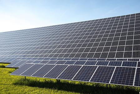 black and white solar panel lot