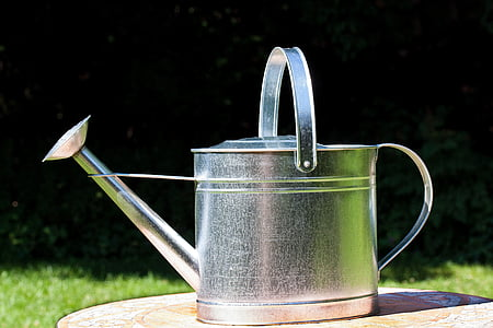 silver watering can on brown surface