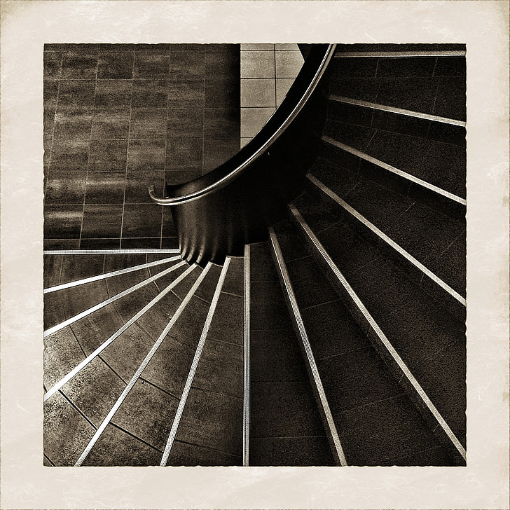 black concrete spiral stair
