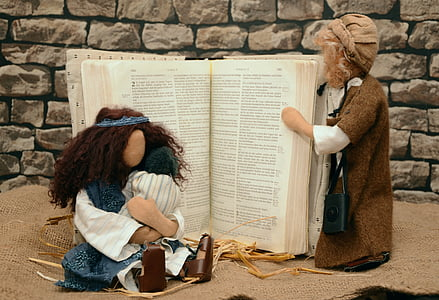 3-piece nativity set with bible book
